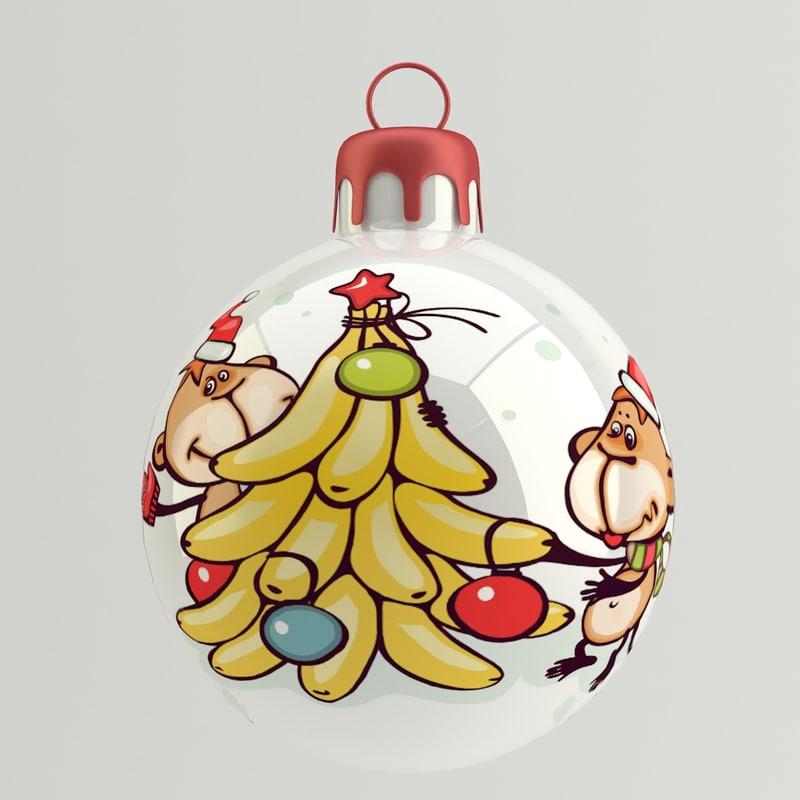 obj christmas ball monkey