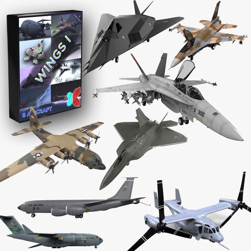 8 modern military aircraft 3d model