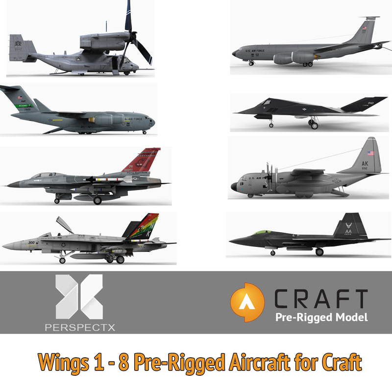 3ds 8 pre-rigged aircraft craft