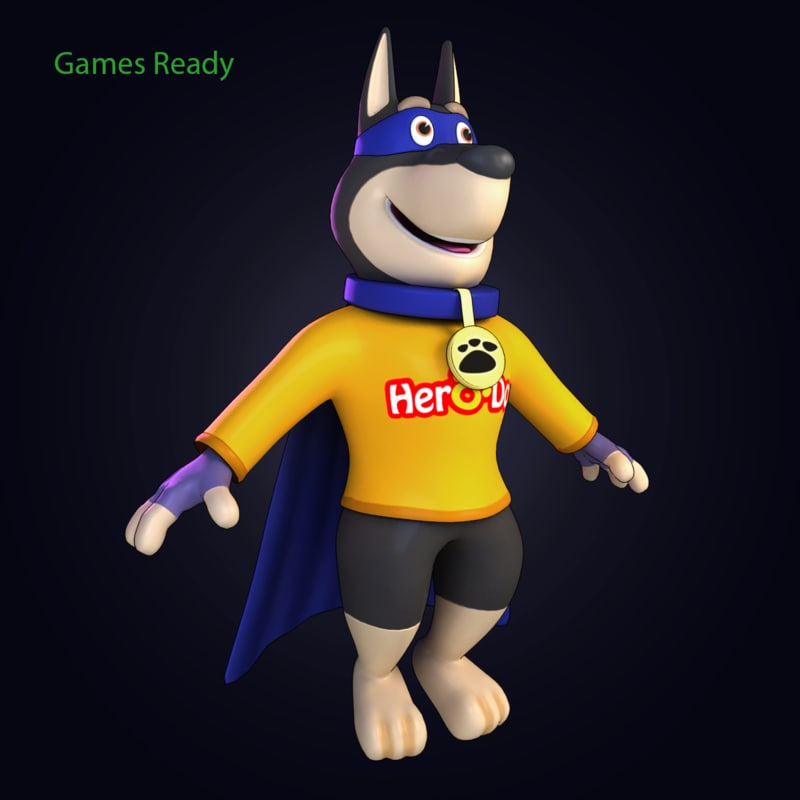 cartoon hero dog 3d model