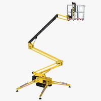 Telescopic Boom Lift Yellow Rigged 3D Model