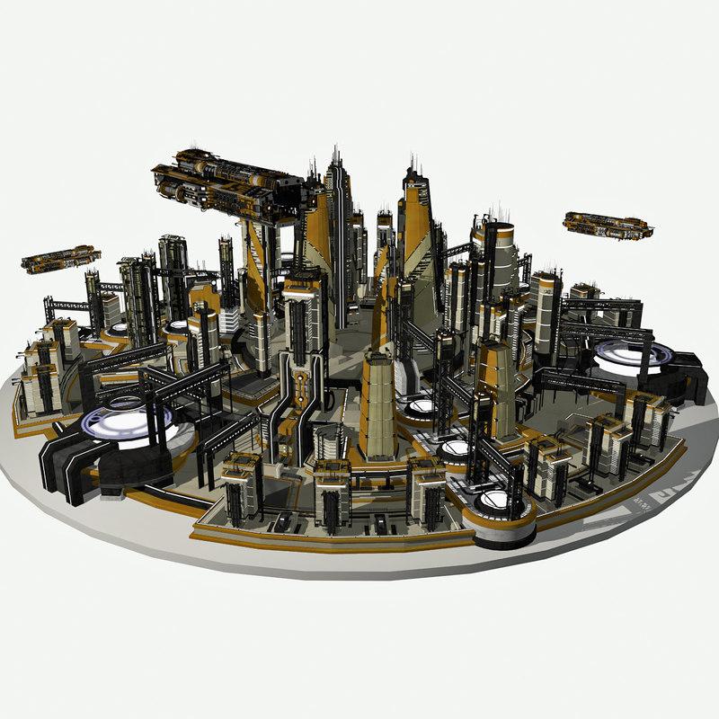 3d model of - sci fi cityscape