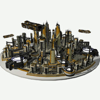 3d model of - sci fi cityscape