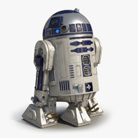 r2 d2 rigged modeled 3d model