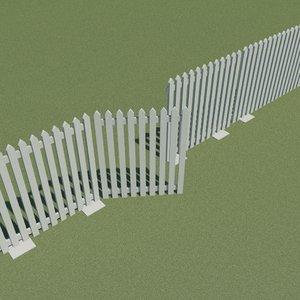 3d dwg picket fence