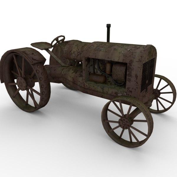 vintage tractor 3d model