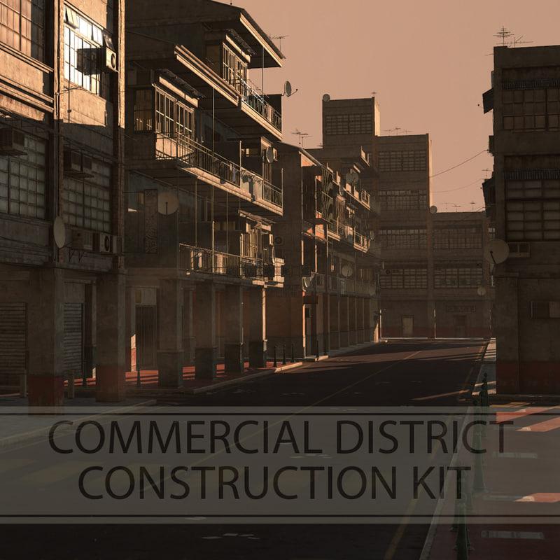 3d commercial district construction kit