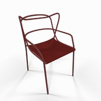 red metal armchair seat chair 3d max