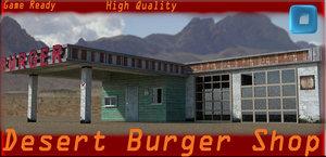 3d desert burger shop model