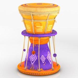 3d model drum rigged dynamic