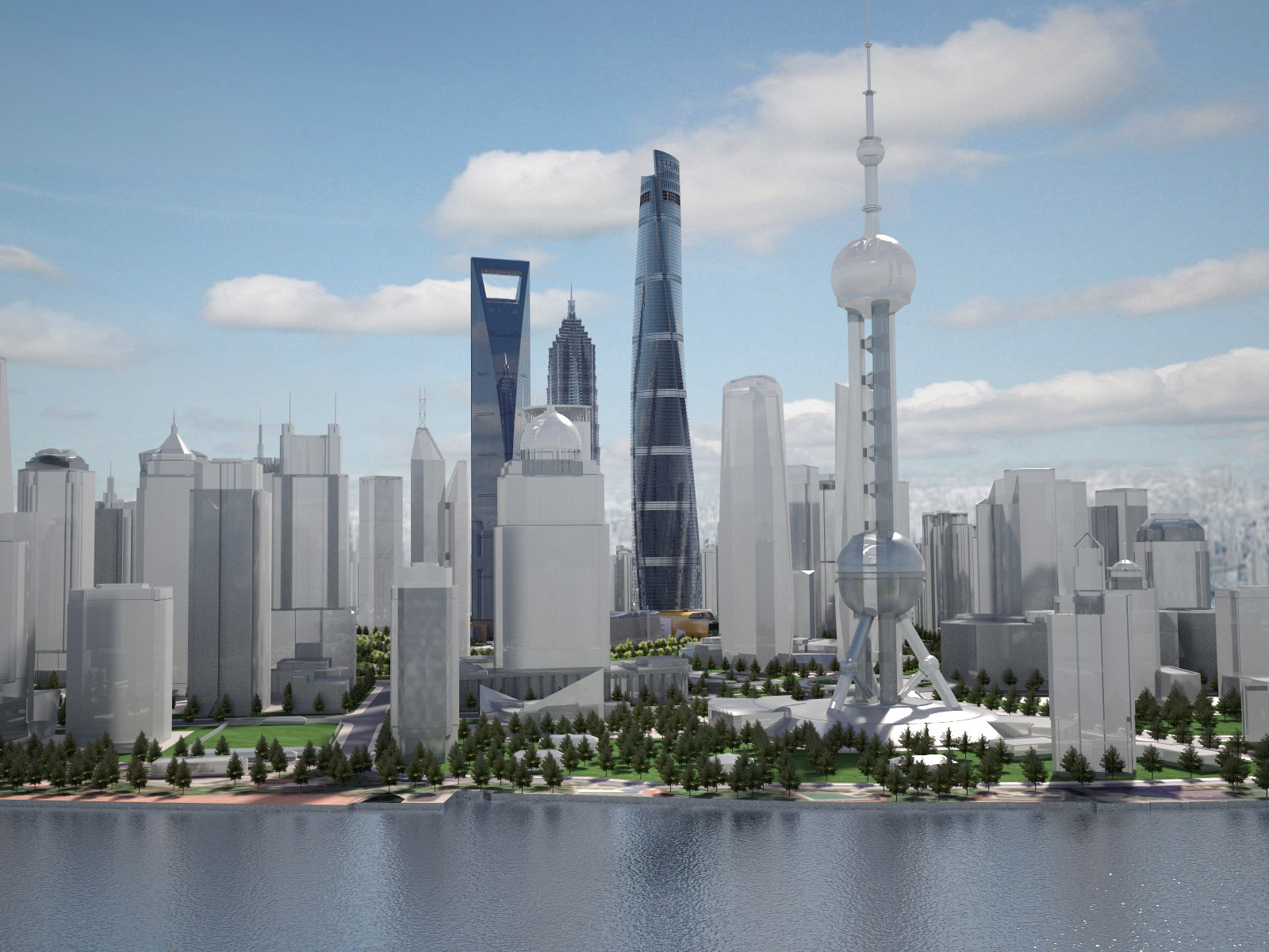 tower shanghai downtown 3d model