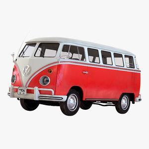 volkswagen type 2 red 3d model