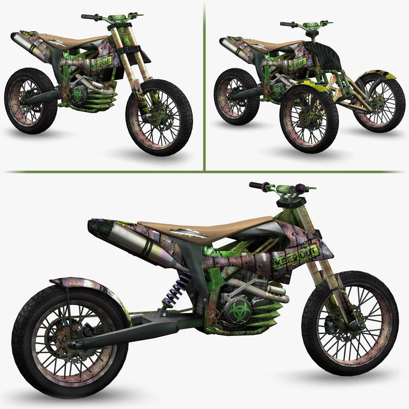 3d model ready apocalyptic dirt bike