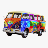 3d model of volkswagen type 2 hippie