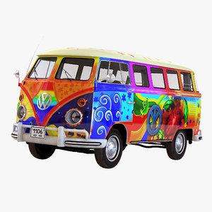 3d model of volkswagen type 2 hippie
