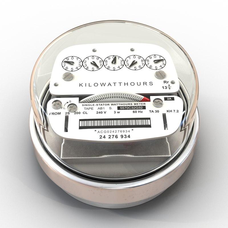 3d model analog electricity meter