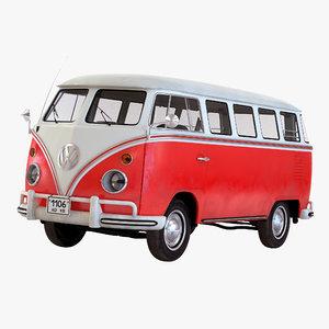 3d volkswagen type 2 red model