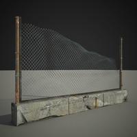 3d model old fence exterior