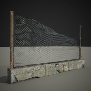 3d model old fence exterior