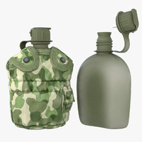 3d military canteen 1 containing model