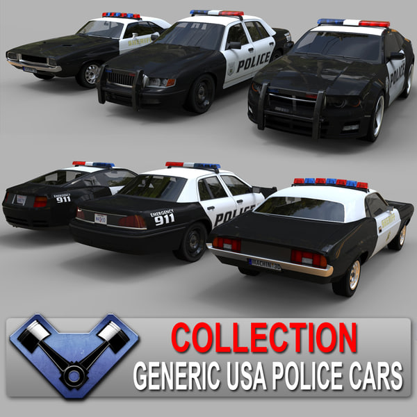 3d model generic police cars sedan
