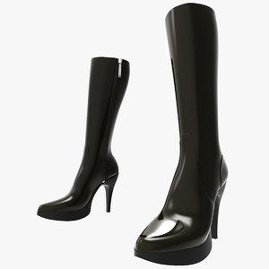 3d woman boots shoes model