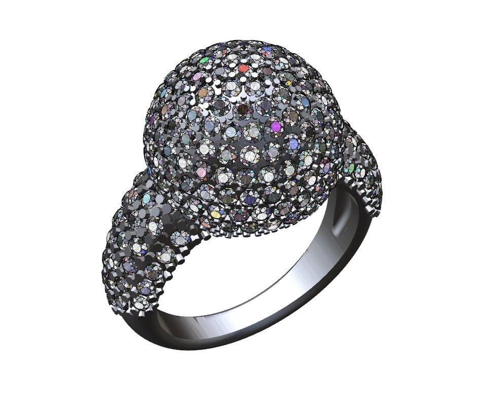 3d sphere ring pave model