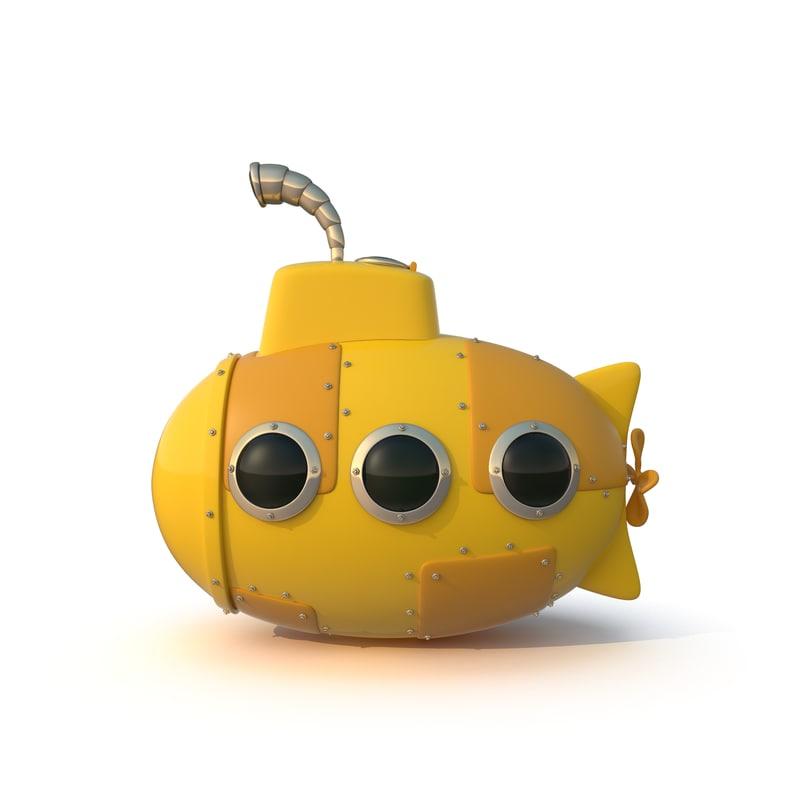 cartoon yellow submarine 3d obj