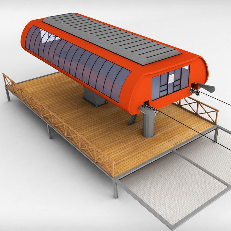 ski lift station 3d model