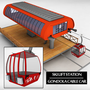 3d obj ski lift station gondola