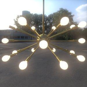 realistic sputnik chandelier 3ds