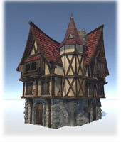 3d medieval city houses model