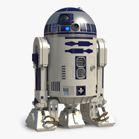 Star Wars Character R2 D2 Rigged 3D Model