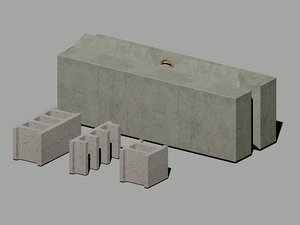 concrete block 3d dwg