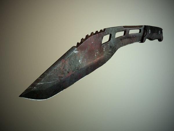 highpoly tactical machete 3d model
