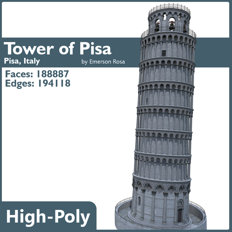 leaning tower pisa 3d max