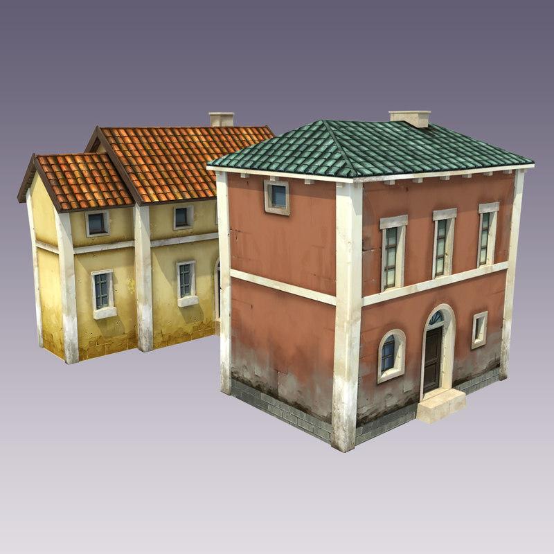 3d houses cartoon style model
