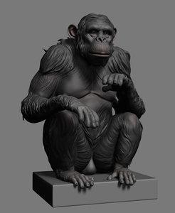 chimp ztl stl 3d model