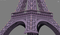 cartoon eiffel tower 3d model