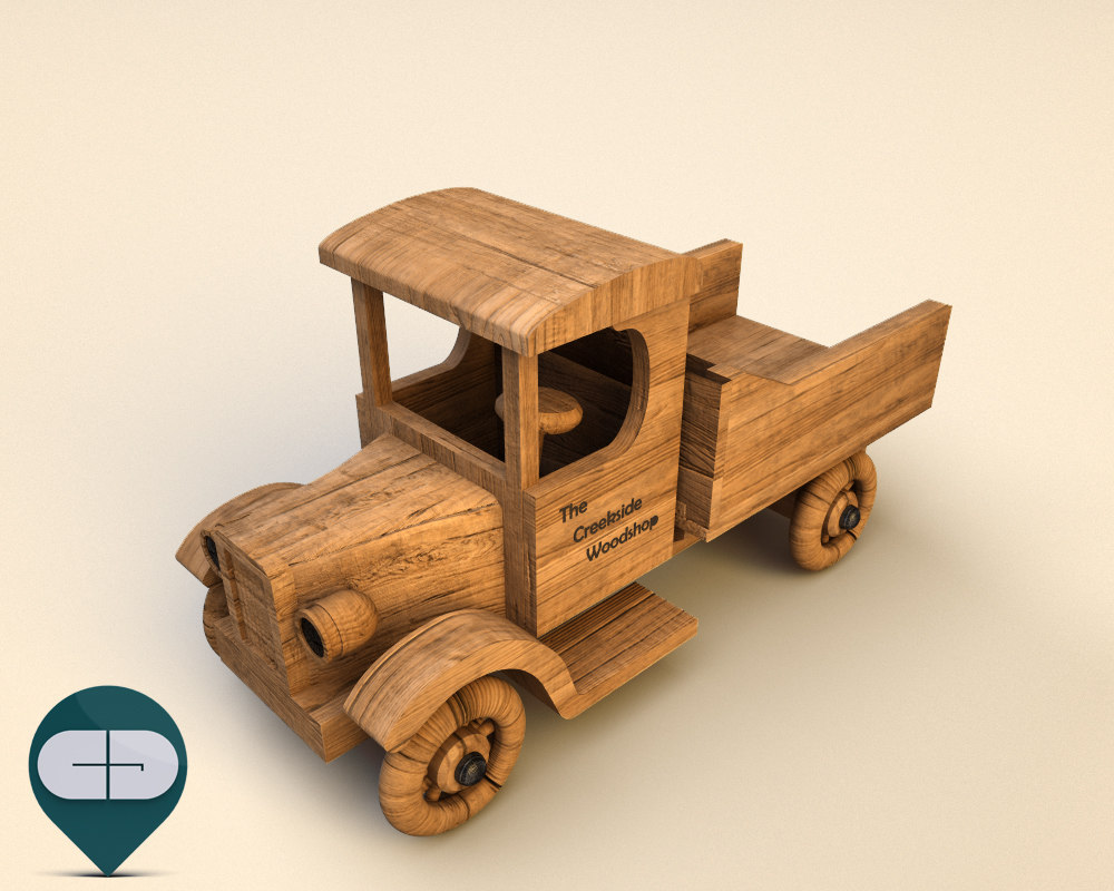 wood car wooden 3d model
