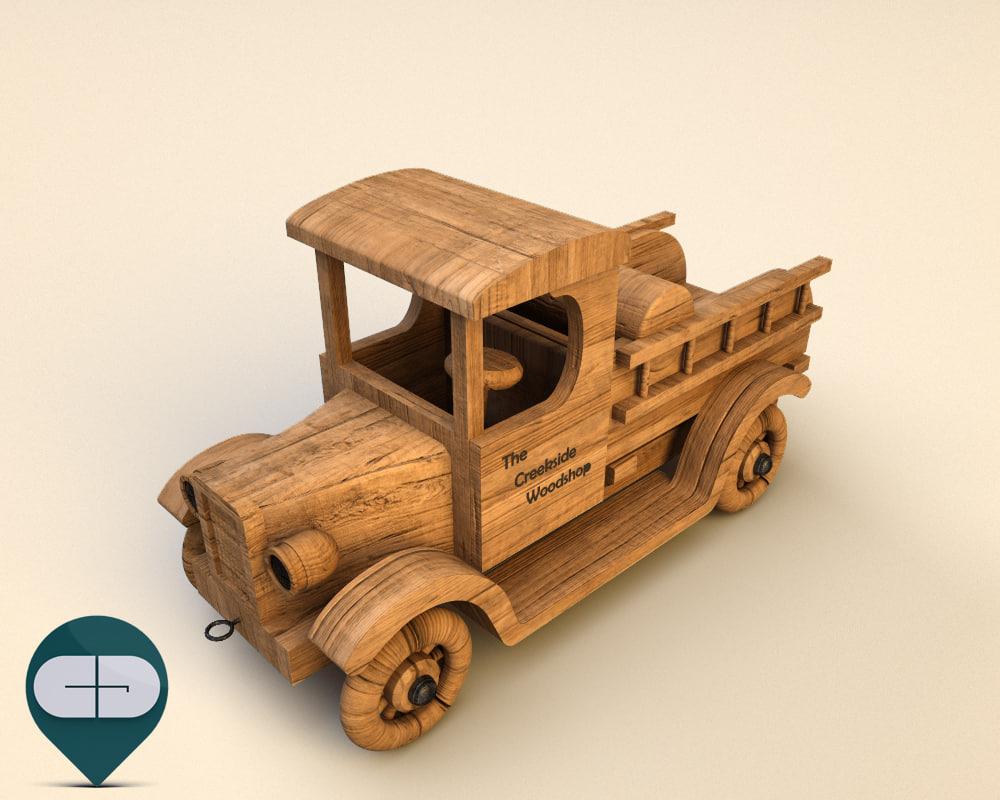 3d model of wood car wooden