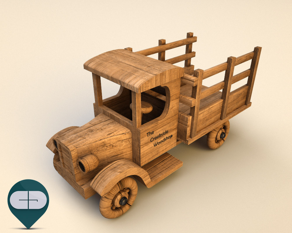 3ds wood car wooden