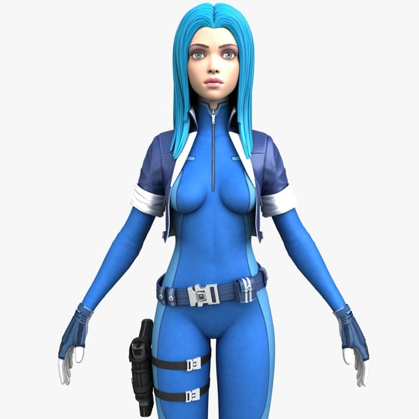 action girl character expressions 3d max