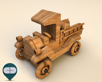 wood car wooden 3d model