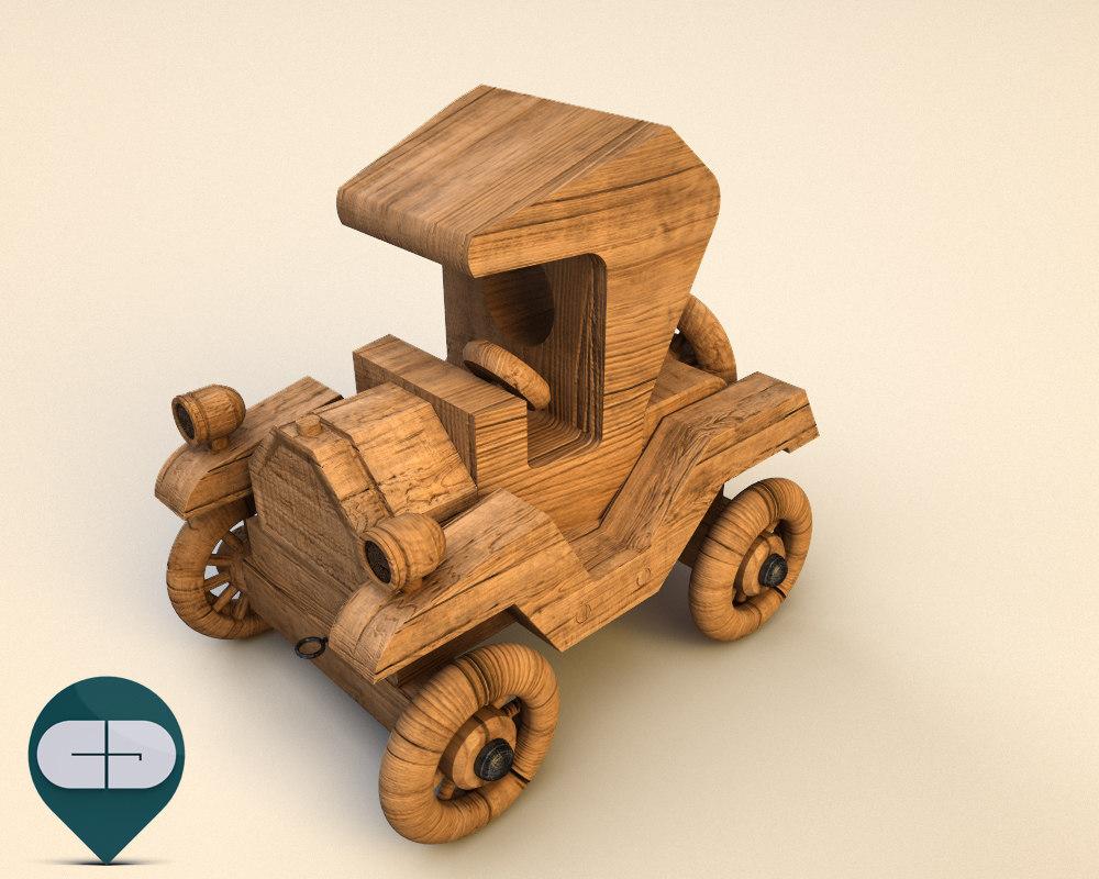 3d model wood car wooden