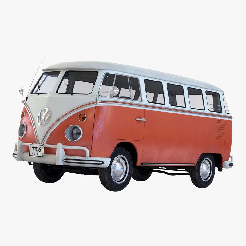 3d volkswagen type 2 brown