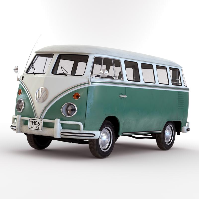 volkswagen type 2 green 3d model