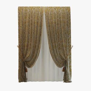 3d luxury curtain rubelli model