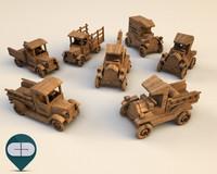 seven wooden car 3d model