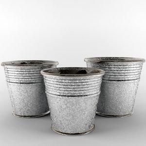 3d model of pot galvanized edolie